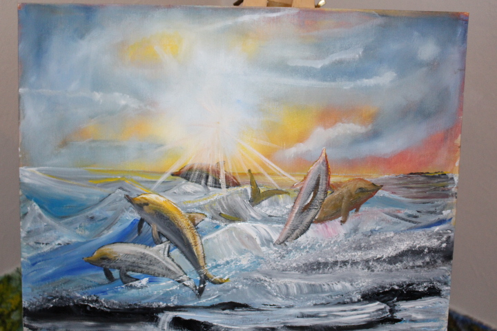 parkinson's painting contest ,dolphin, oil painting by paul tearse, pauls gallery, painting with parkinsons